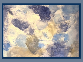 Abstract Painting with shades of blue, white, and gray